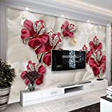 YWYWYWYW Benutzerdefinierte Tapete Für Wände 3 D Modernen Europäischen Stil Kunst Wandbild Diamant Schmuck Blume Wohnzimmer Tv Hintergrund Fototapete,190Cm(H)×270Cm(W)