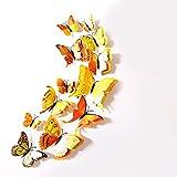 Oblique Unique 3D Schmetterlinge Doppelflügel Effekt Blumen 12er Set Dekoration Wandtattoo (Gelb)