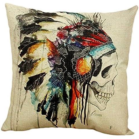 bonbonne funda de cojín de calavera Cráneo indio casco coloré lino algodón mezcla cuadrado funda de almohada sofá cama Home casa Sofa 45x 45cm
