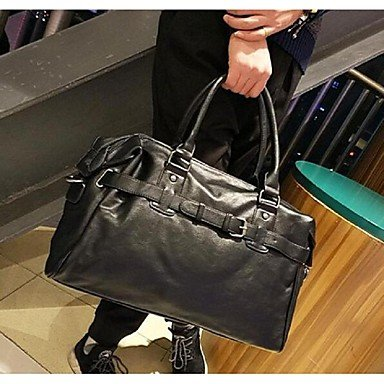 Women-Tote-PU-All-Seasons-Casual-Weekend-Bag-Metallic-Zipper-Black