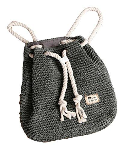 Stroh Rucksack Tasche Rattan Gras weben Frauen Schulter Mode Strand Reise Handtasche Shopping Tote Grey