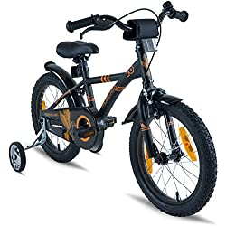 Prometheus Bicicleta Infantil | 16 Pulgadas | niño y niña | Negro Mate Naranja | A Partir de 5 años | con ruedines y Freno de contrapedal | 16? Modelo BMX 2019