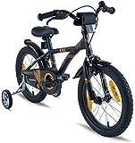 Prometheus Kinderfahrrad 16 Zoll Jungen Mädchen Schwarz Matt Orange ab 5 Jahre mit Stützräder und Rücktritt - 16zoll BMX Modell 2019
