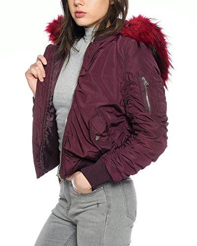Dress Sheek Premium Damen Bomberjacke mit Fell Kapuze (M, Rot)
