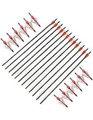 VERY100 12piezas Flechas Reemplazables de Carbono para Ballesta Tiro con Arco + 12piezas Puntas de Recambio con 3 Cuchillas Agudas