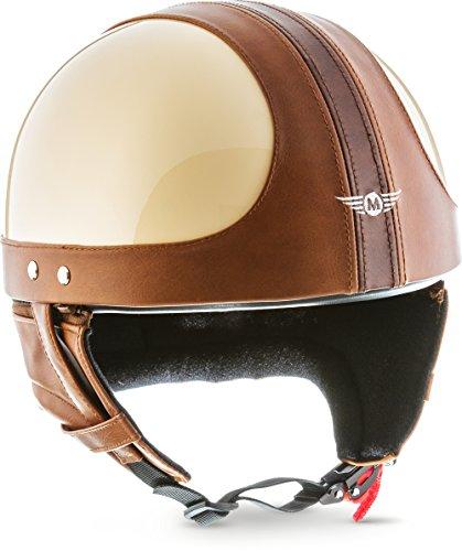 """Moto Helmets® D22 \""""Vintage Creme\"""" · Brain-Cap · Halbschale Jet-Helm Motorrad-Helm Bobber · Fiberglas Schnellverschluss SlimShell Tasche S (55-56cm)"""