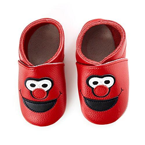 smileBaby Premium Leder Lauflernschuhe Krabbelschuhe Babyschuhe Rot Clown 0 bis 6 Monate