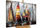 KunstLoft Extravagantes Metallbild 3D 'Sailing to Nowhere' 120x80x5cm   Design Wanddeko XXL Handgefertigt   Unikat Luxus Wandskulptur   Segelschiffe Boote Meer Bunt   Wandbild Relief Modern