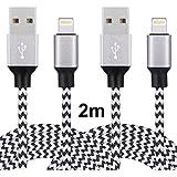 Lightning-Kabel Iphone-Ladekabel, COSKIP 2* 2m aus PU Leder Ladekabel iphone 6 kompatibel mit Apple iPhone 6 Plus/6 /5/5S/6s iPad 4 iPad Mini/Air iPod 5 und iPod7(Schwarzweiß)