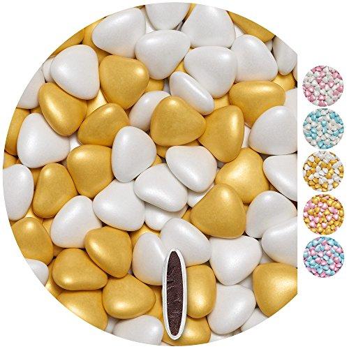 EinsSein Schokoherzen Pearl MIX 1kg weiß-gold Schokodragees Herzen Candybar Hochzeitsmandeln griechische Herz