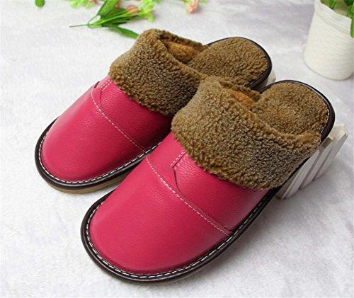Mhgao pantofole da donna casual autunno/inverno tenere in caldo cotone pantofole in pelle alla moda di fascia alta 3