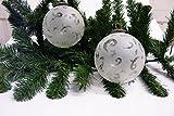 Weihnachtskugel,Christbaumschmuck aus Glas milchig halb transparent mit klaren Figuren 6 Stück