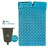 iBasingo Ultraleicht Tragbare 2 Person Schlafmatte mit Kissen Camping Zelt Im Freien Aufblasbare Luftmatratze Feuchtigkeitsdichten Isomatte Schlafen Pad für Picknick Rucksack(Blau)