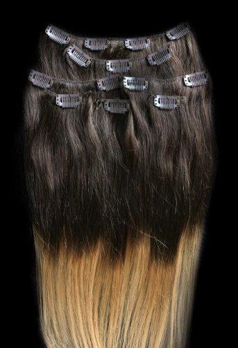 40,6 cm 7 extensions de cheveux 100% Remy Humains Ombre à clipser # T4/27