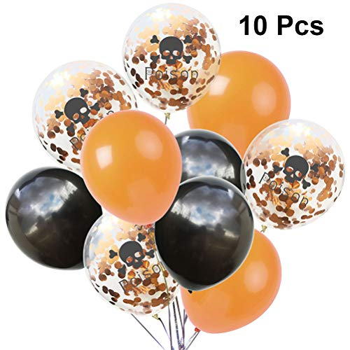 Amosfun 10pcs Halloween Luftballons Schädel Gift Druck Latex glänzende Paillette Ballon Kit für Haunted Mansion Halloween beängstigend Thema Party Decor (Orange schwarz)