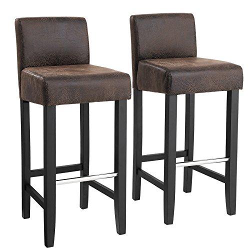 Songmics set di 2 sedie da pranzo, sgabello da bar imbottito con schienale, tessuto simil-lino, schienale basso, altezza sedile 71 cm, gambe in legno massello, con poggiapiedi, marrone e nero, ldc32br