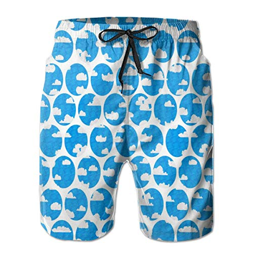 Men's Quick Dry Swim Trunks - R Dream Cloud Airplane Window Texture Blue Spots Dots Sky Clouds Flight Chiff Designs Colorful Beach Shorts with Mesh Lining