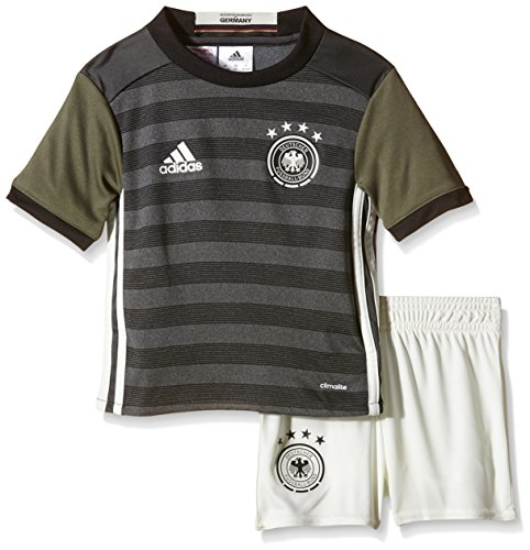 adidas Kinder Trikot Set DFB Auswärts Mini, Dark Grey Heather/Off White/Base Green S15/Black, 92, AA0115 (Shorts Mini-gestreifte)