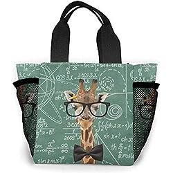 Bolsas de compras Profesor Jirafa Matemáticas Geek Pizarra divertida Bolsa de almuerzo Caja de almuerzo gourmet Bolso de mano portátil con aislamiento