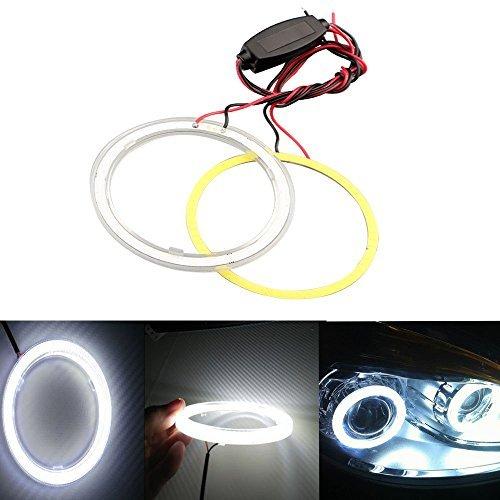GrandView 1 Paar (2 Stück) Standlichtringe COB LED Angel Eyes (80MM-Weiß)