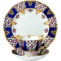 Royal Doulton-Tazza da tè con piattino e Regency 4826,00 (1900 cm 20 cm, colore blu, confezione da 3