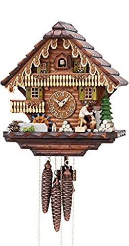 German Cuckoo Clock 1-day-movement Chalet-Style 13.00 inch - Authentic black forest cuckoo clock by Hekas by ISDD Cuckoo Clocks