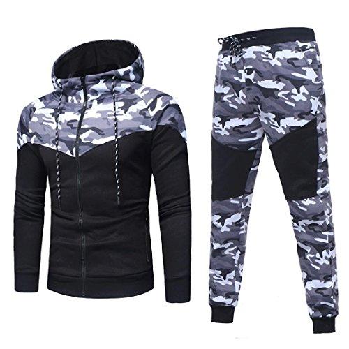 Sudadera Hombre, Xinan Sudadera de Camuflaje otoñal de Invierno para Hombre Long Sleeve Top Pants Sets Sports Suit Imprimir chándal/Pantalones (XXXL, Conjunto Negro)