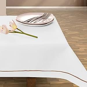 140x200 cm weiß Tischdecke Tischtuch elegant praktisch pflegeleicht Leinoptik Lein Optik mit Borte Modern Lein