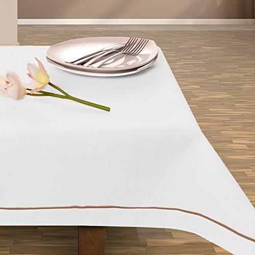Nappe blanc nappe élégante et pratique, facile d'entretien avec bordure leinoptik de lin modern lin textile/lin oléagineux 115x200 blanc