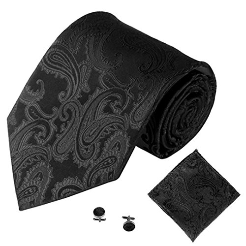 SOMESUN Gewebtem Jacquard Herren Krawatten Taschentuch Manschettenknopf 3PCS Paisley Cashew Taschen (schwarz) (Schwarz Und Rosa Krawatte)