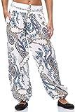 JillyMode Wunderschöne Leichte Haremshose aus Baumwolle in Viele Muster Gr.34-Gr.42 OneSize (H133-Weiß)
