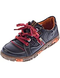 276e673f987504 TMA Comfort Damen Leder Schuhe Schnürer 4181 Sneakers Schwarz Weiß Rot Grün  Turnschuhe Halbschuhe