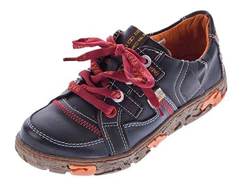 TMA Comfort Damen Leder Schuhe Schnürer 4181 Sneakers Schwarz Turnschuhe Halbschuhe Gr. 40