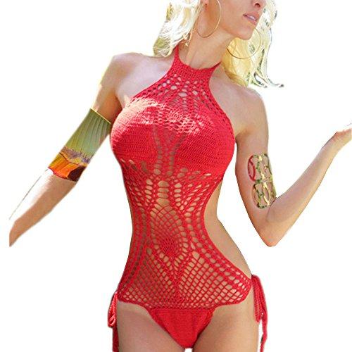 CRAVOG Bikinis Eingestellt Badeanzüge Häkeln Badeanzug Aushöhlen Solide Farbe Bikini Schwarz Weiß Sexy Crochet Badeanzüge Hochwertige Push up neckholder Rot