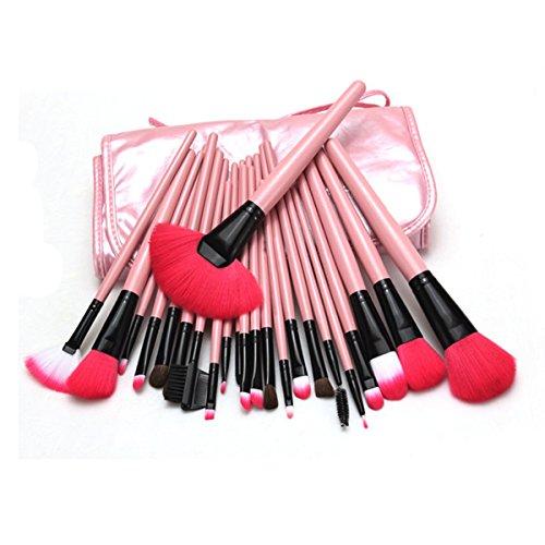 ISABELLE Pro 24 pinceaux de maquillage cosmetique poil naturel brosses pondre+trousse de maquillage
