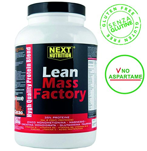 Lean Mass Factory gr 1000 de protéine améliorée avec la créatine , glutamine , taurine , zinc magnésium , vitamines et minéraux . Idéal pour augmenter la masse musculaire goût Vanille