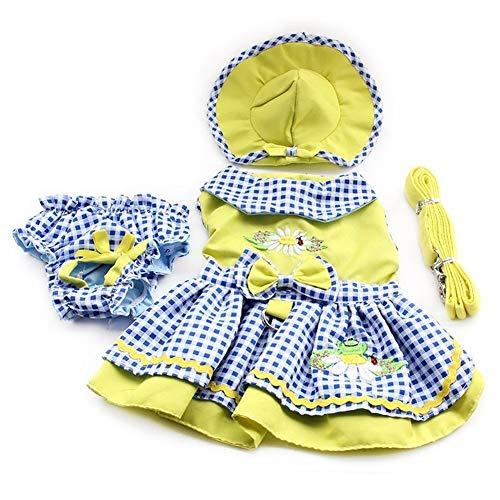 7°MR Speichern Sie Blumenmuster-Hundekleider Prinzessin Dress Dogs Pet Supplies (Dress + Hat + Panties + Leash = 1set (Color : As shown, Size : XL)