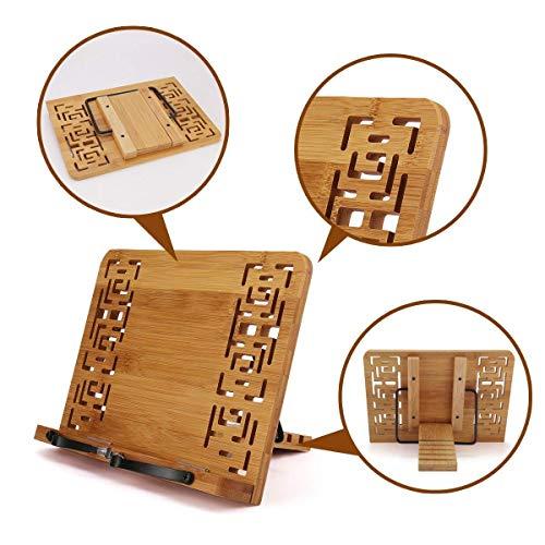 Soporte teléfono lectura porte-livre ajustable bambú