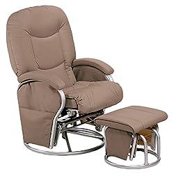 Hauck Metall-Glider Recline Stillstuhl und Entspannungsstuhl, mit Hocker und Armlehne, Schwingfunktion, seitlichen Taschen, drehbar, verstellbar und gepolstert, aus Kunstleder, belastbar bis 120 kg