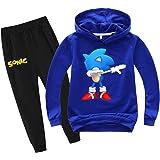 SUPFANS Conjunto de sudadera y pantalones deportivos de Sonic para niños con capucha y pantalón de erizo