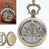 xiaoaosn Deathly Hallows Harry Potter Roma Retro Watch encantos Deathly Hallows Harry Potter Colgante Colgante Reloj Hombre Reloj de bolsillo reloj de bolsillo collar colgante simple redondo