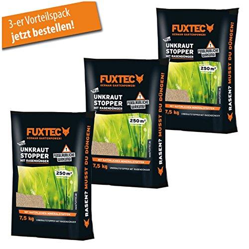 FUXTEC Unkrautstopper mit Rasendünger 7,5 kg 3er Set (wirksam gegen Löwenzahn,Wegerich uvm.) empfohlen für noch gesünderen Rasen