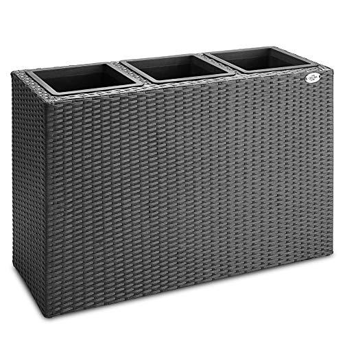Deuba - Bac à Fleurs polyrotin Noir 3 Compartiments - 83x30,5x60 cm - Pot Fleurs, bac Vertical, intérieur, extérieur