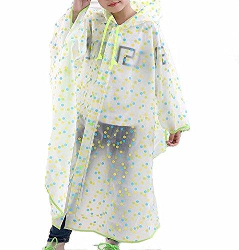 SWIHEL Impermeabile per bambini, Poncho impermeabile di pioggia incappucciati, Antivento e Antipioggia Poncho per bambini.[ M Verde]
