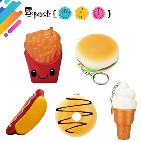 Squishys Spielzeug, Gusspower 5 Stücke Squishy Spielzeug Hot Dog Hamburger Pommes Donut Eis Langsam Steigende Squeeze Duft Charme Stressabbau Spielzeug (Hot-dog-toy-essen)