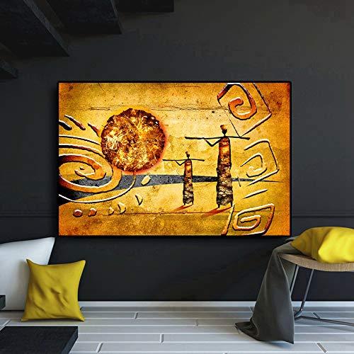 GJQFJBS Astratto Tramonto Carattere Africano Pittura a Olio su Tela Stampa Poster Stampa murale Soggiorno Immagine Artistica (Senza Cornice) A4 40x50cm