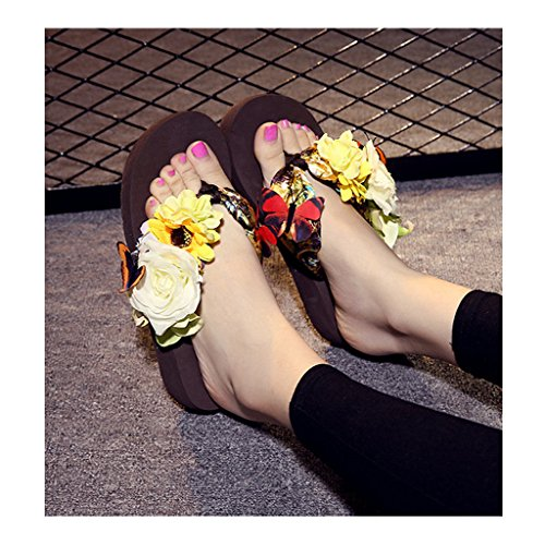 Eagsouni® Damen Mädchen Böhmen süße Blume Plateau Sandalen Pantoletten Flip Flops Keilabsatz Zehentrenner Sommer Freizeit Strandschuhe Hausschuhe #1Kaffee
