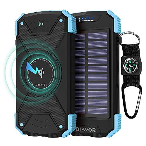 Power Bank Solar Ladegerät,10000mAh Externer Akku,Tragbare Notfall-Energie mit Type-C Eingangsports Dual LED-Lich,Kompass für iPhone,Samsung und andere Smartphones/Handys (Notfall-solar-panel-ladegerät)