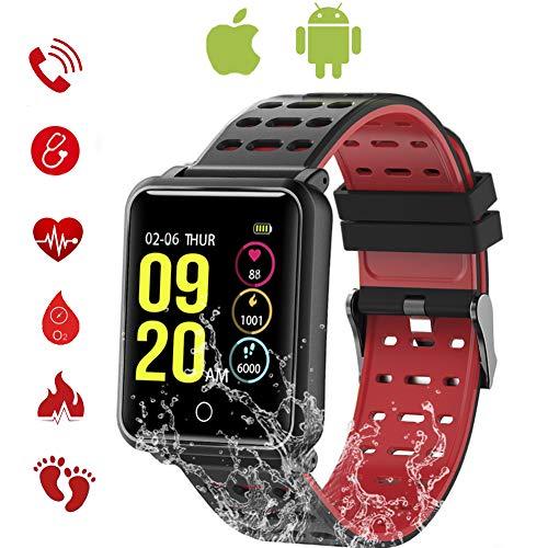 TagoBee TB06 IP68 Wasserdichte Smart Watch HD Touchscreen Fitness Tracker Unterstützung Blutdruck Herzfrequenz Schlafüberwachung Schrittzähler kompatibel mit Android und IOS (rot)
