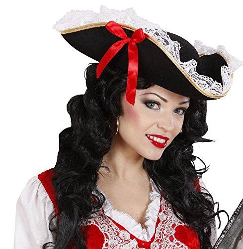 (Seiler24 Seeräuber Hut mit Schleier und Schleife für Erwachsene Piraten-Kostüm Piraten-Hut Seeräuber Kapitän)